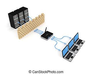 firewall, concept.