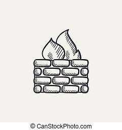 firewall, esboço, icon.