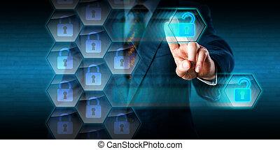 firewall, gaten, kraag, hacking, crimineel, witte