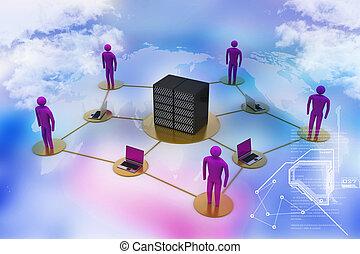 firewall., grand, ordinateur portable, travail, serveur, humain, filet, image, 3d