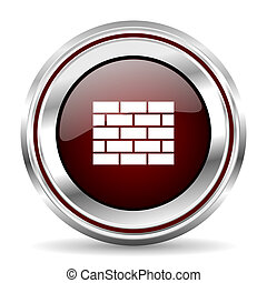 firewall icon chrome border round web button silver metallic pushbutton