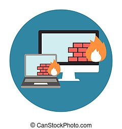 Firewall Icon Flat. Editable EPS vector format