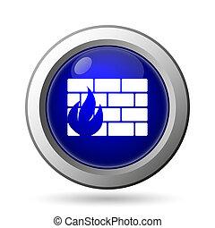 Firewall icon. Internet button on white background.