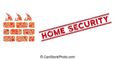 Firewall Mosaic and Scratched Home Security Stamp Seal with Lines