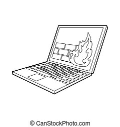 Firewall on the laptop monitor icon, outline style