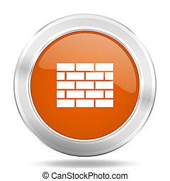 firewall orange icon, metallic design internet button, web and mobile app illustration