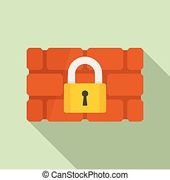 Firewall padlock icon, flat style