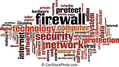 firewall, palavra, nuvem