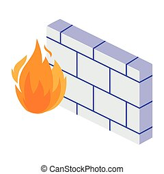 firewall protection isolated icon