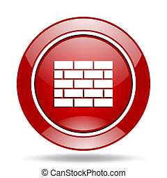 firewall red web glossy round icon