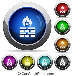 Firewall round glossy buttons