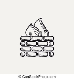 firewall, schets, icon.