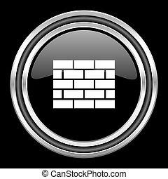 firewall silver chrome metallic round web icon on black background