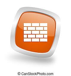 firewall square orange glossy chrome silver metallic web icon