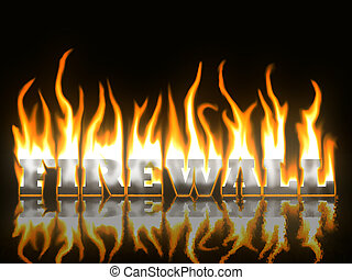 firewall, tekst, branden, met, reflectie