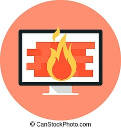 Firewall theme, flat style, colorful, vector icon