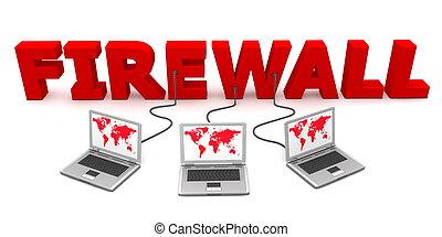 firewall, -, veelvoudig, bekabeld, rood