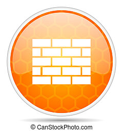 Firewall web icon. Round orange glossy internet button for webdesign.