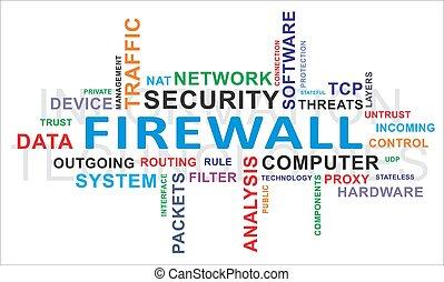 firewall, woord, -, wolk