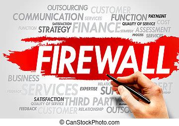 FIREWALL word cloud, business concept