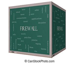 Firewall Word Cloud Concept on a 3D cube Blackboard