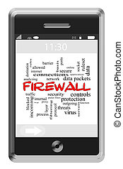 Firewall Word Cloud Concept on a Touchscreen Phone
