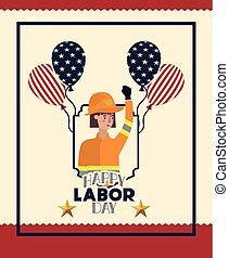 firewoman, main-d'œuvre, ballons, jour, carte, heureux
