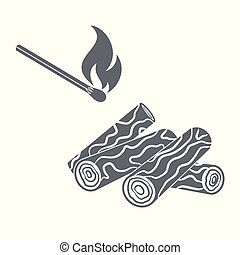 Firewood and matches icon