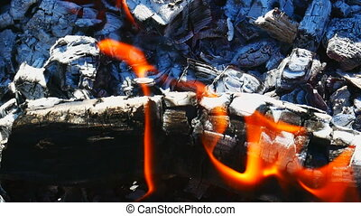 Firewood and tongue of flames - Burning firewood with red...