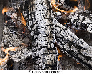 firewood ashes - The firewood burning for cooking grill or ...