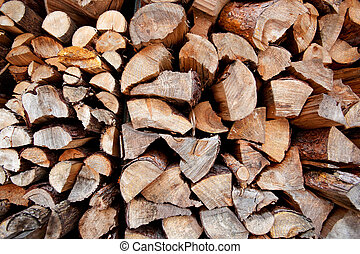 An abstract background of firewood stacked