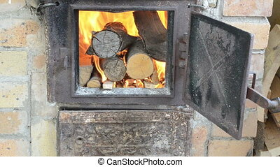 firewood burn old stove