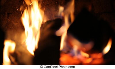 Firewood burning in stove