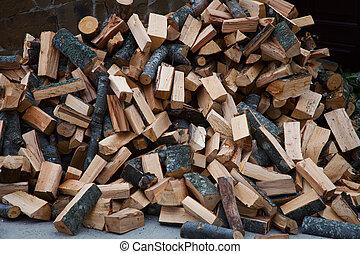 Chopped firewood piled in a heap