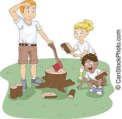 Firewood - Illustration of Kids Gathering Firewood