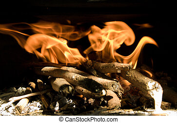 firewood in flames