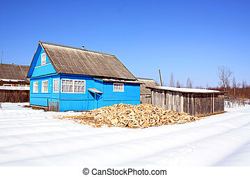 firewood near building