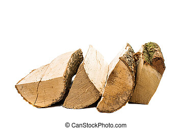 firewood on a white background