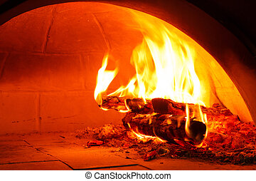Firewood oven for bake pizza - Close up firewood oven with...