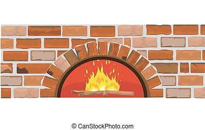 Firewood oven on brick wall. Flat and solid color design. ...