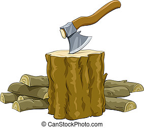 Stump with an ax and firewood, vector