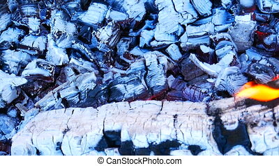 Firewood with hot charcoal - Burning firewood with red and...