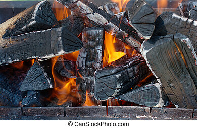 Close-up photo of a firewoods