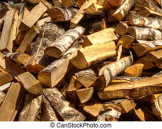 Firewoods - Pile of chopped birch firewood, natural...