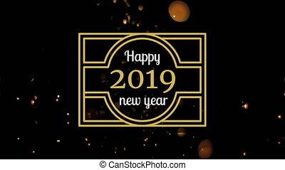Firework against New Year 2019 sign 4k