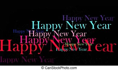 firework and colorful happy new year text black background