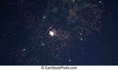 Firework at night sky - Colourful firework at night sky