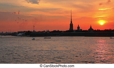 Firework at Sunset over Peter and Paul fortress in Saint-Petersburg Russia