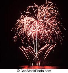 firework, aus, der, wasser, in, der, nacht himmel