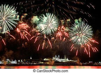 firework, aus, kreml, in, kazan, (russia)